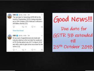 Good News!!! Due date for GSTR 3B extended till 25th October 2018