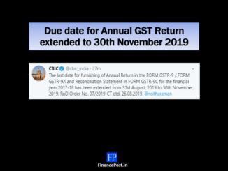 Due date for GSTR 9/GSTR 9A/GSTR 9C extended to 30th Nov 2019