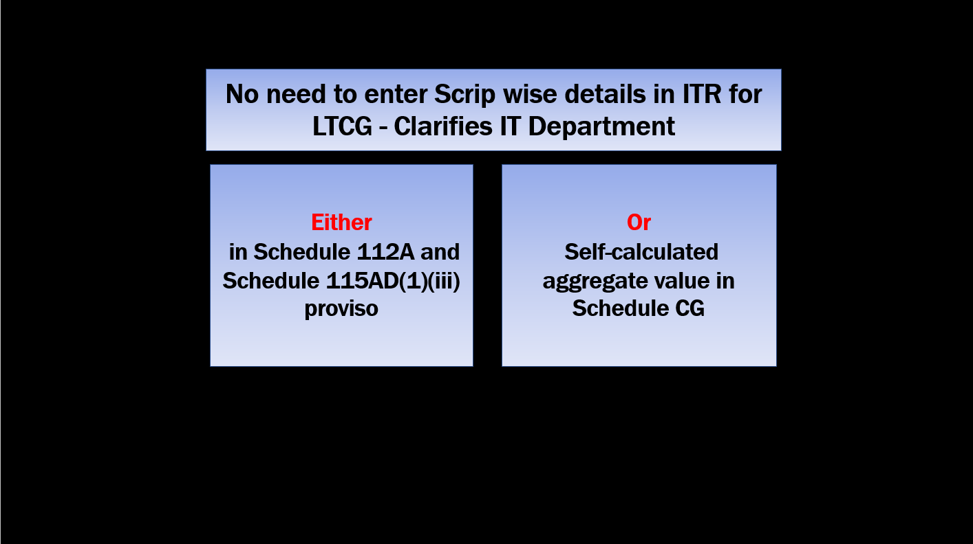 No need to enter Scrip wise details in ITR for LTCG - Clarifies IT Department