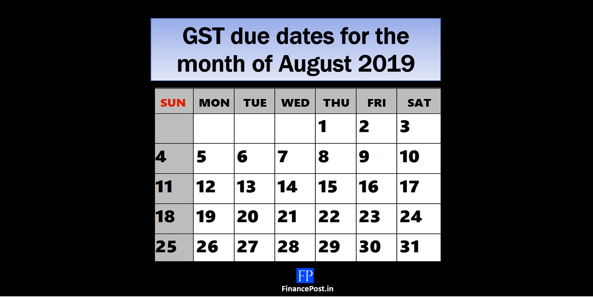 gst due date for the month of August 2019