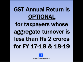 GST Annual Return is optional for taxpayers whose aggregate turnover is less than Rs 2 crores